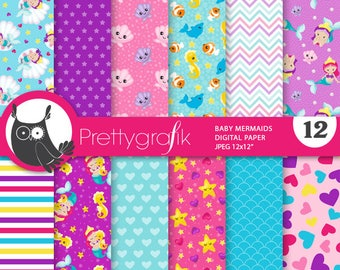 80% OFF SALE Baby mermaids digital paper, commercial use,  scrapbook papers,  background, sports - PS871