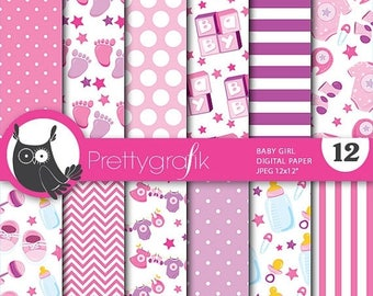 80% OFF SALE Baby girl digital papers, baby shower commercial use, scrapbook papers, background - PS709