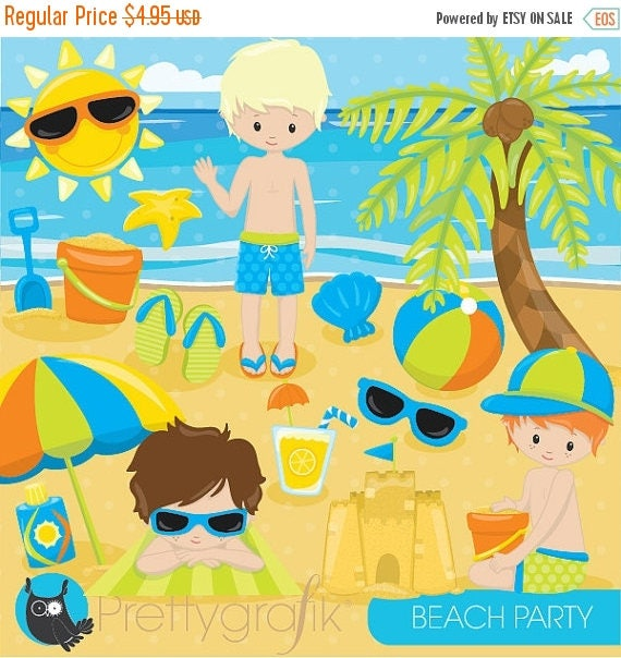 80 OFF SALE Beach Party Clipart Commercial Use Kids Vector