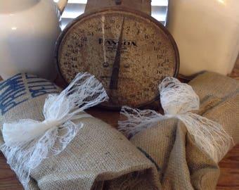 Primitive Vintage Burlap Feed Sack Bag Old Cotton Gin