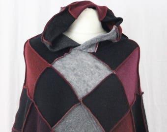 Ex Large Upcycled Patchwork Poncho, Pixie Hood. Black, Grey, Plum. Recycled Wool Knitwear. Handmade UK OOAK Festival Wear, Hippie Boho