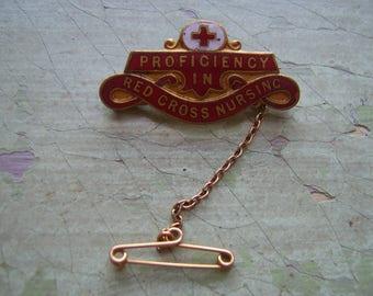 Vintage Red Cross Enamel Badge/Pin/Pin Back.