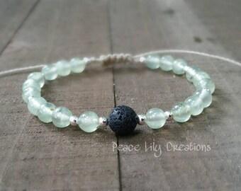 Prehnite lava rock yoga bracelet energy bracelet wrist mala chakra balancing essential oil diffuser bracelet healing jewelry