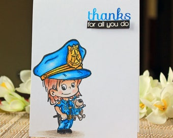 Thanks for all you do, Police Officer, Blue, Handmade Card