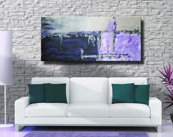"""ON SALE 72"""" Original Abstract Acrylic Painting Extra Large Purple Violet Gray Black Green Wall Art Modern Art Decor UNSTRETCHED Auxxl027"""