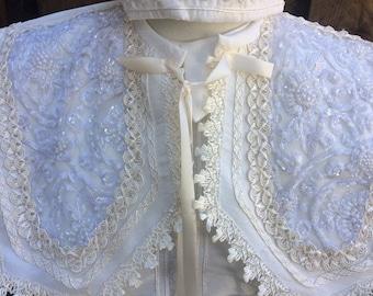 William Baptism outfit for Boy, Four piece Christening set, Blessing outfit, Traje de Bautizo, Ropon del papa para nino, Ajuar Bautismal