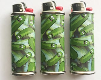 Rick and Morty Pickle Rick Pickle Print Metal Lighter Case