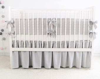 Gray Crib Bedding, Gray Linen Crib Bedding, Unisex Crib Bedding, Baby Bedding Linen, Crib Bedding Boy, Nursery Bedding Neutral, Baby Bedding