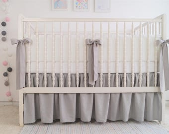 Crib  bedding - linen crib bedding -  skirt and bumper - gender neutral crib bedding, gray with white