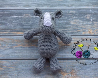 Crochet Rhino doll, soft and plush doll, Soft Toy Doll, Plush Toy, Stuffed Toy rhino, Soft Toy, rhinoceros, Amigurumi toy-Made to Order