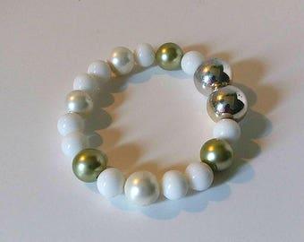 White and silver 7 inch stretch bracelet,  Wedding jewelry