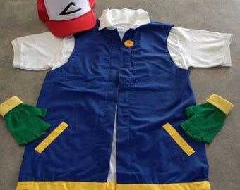 3 pc POKEMON GO  Men's XL   -  Ash Ketchum Pokemon Trainer Costume  -  Extra Large - cosplay