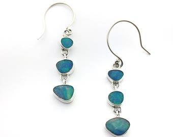 Opal Earrings, Sterling Silver Australian Opal Earrings, Opal Drop Earrings