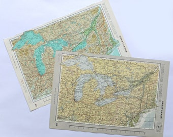 Vintage Great Lakes map - Large Map of the Great Lakes, US and Canada