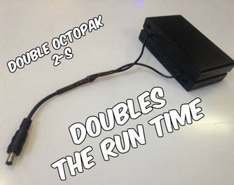 The Double OCTOPAK TM 2-S 2 X 8 Cover Cased Desert Rated LED Strip Light Battery Pack Doubles Your Run Time