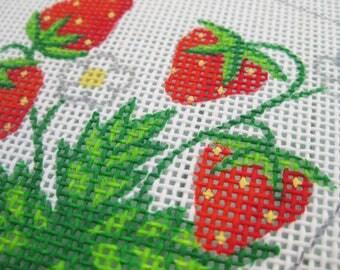 Strawberry Needlepoint Handpainted Canvas- 12 mesh