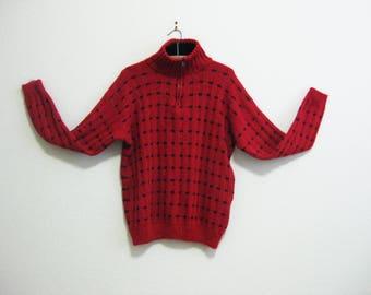Red Alpaca Sweater XL Ecuador - Zip neck - warm soft and wonderful