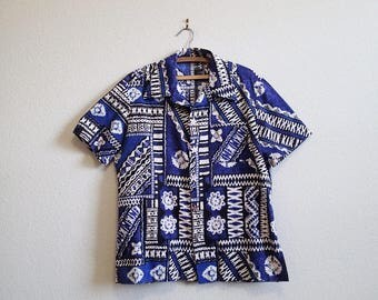 Blue Hawaiian Button up Shirt Medium Large - Seashell Buttons