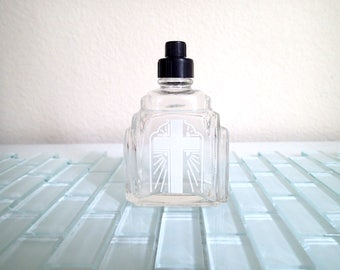 Holy Water Bottle Glass - Catholic Anointing Exorcism Religious Crucifix - Art Deco Bottle