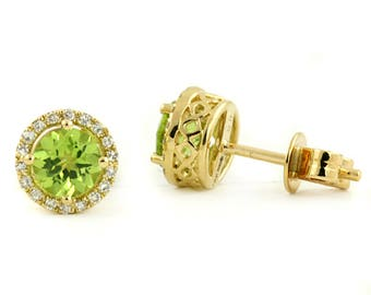 Green Peridot & Diamond Halo Filigree Stud Earrings 14k Yellow Gold