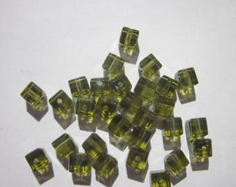 4 cube beads 4 mm (5 PV11) olivine green swarovski crystal