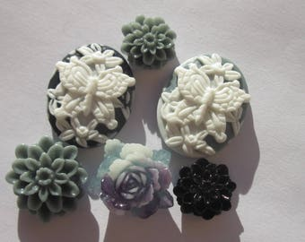 6 flowers and resin cameos to paste (1)