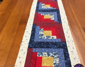 "Pre-Order Today  - Quilted Table Runner, Handmade Table Runner, Narrow Wall Hanging, Log Cabin Quilt, 10"" X 60"" Table Runner, Table Accent"