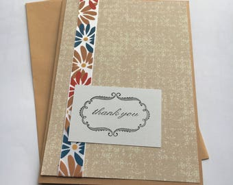 Thank You Greeting Card - Blank Inside - 5x7 - Floral