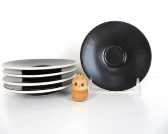 Set Of 5 Black Sasaki Colorstone Saucers, Massimo Vignelli Matte Black Colorstone Replacement Saucers