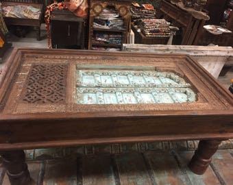 Antique Coffee table Vintage Furniture Distressed Blue Chai Table Haveli Old Jharokha Hand Carved Detail
