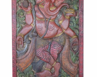 Ganesha Barn Door Vintage Carved Ganesha God of Health, Wealth, Property, Sucess, Panel Bohemian Decor