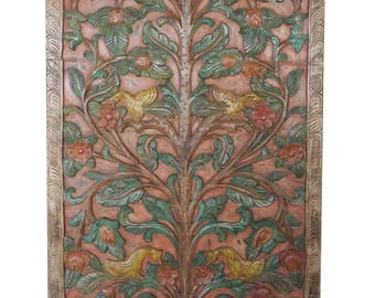 Colorful Hand Carved Door Panel KALPAVRIKSHA - Tree of Dreams- Wall Sculpture , Wall Decor Living Room Decor FREE SHIP Cyber Week Sale