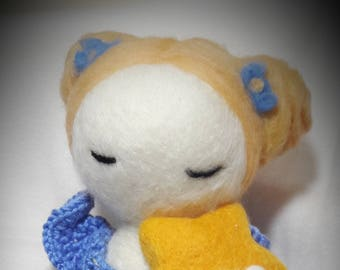 Sky. Handmade needlefelted doll with crocheted dress.