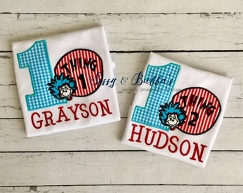 Personalized Thing One and Thing Two Birthday Appliqué Shirts, birthday, thing 1 and thing 2 shirts, dr suess, cat in the hat