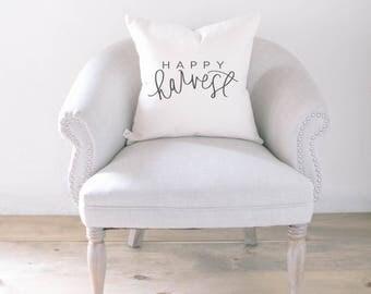 Throw Pillow - Happy Harvest, calligraphy, home decor, fall decor, housewarming gift, cushion cover, throw pillow, seasonal pillow