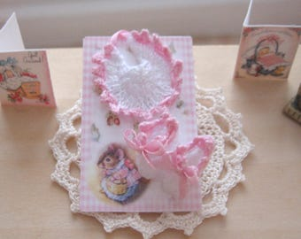 dollhouse baby doll bib and booties knitted 12th scale miniature