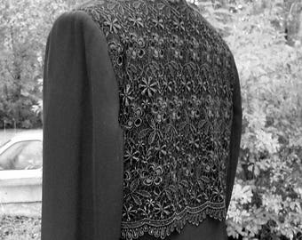 Long Black Jacket Embellished with Lace - Upcycled Recycled Repurposed Clothing - Size 12