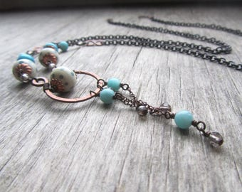 Long boho necklace with blue amazonite, lampwork glass and copper - long chain necklace - bohemian jewelry