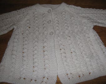 New Hand Knit Lacy Pattern Baby Sweater