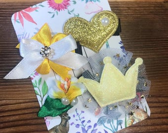 AberryHandmade One-of-a-Kind Baby hairclips [Set of 4] Yellow