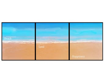 Beach Sand Happiness Canvas Print For Your Home or business in various sizes. Mounted and ready to hang, plus fast and free shipping