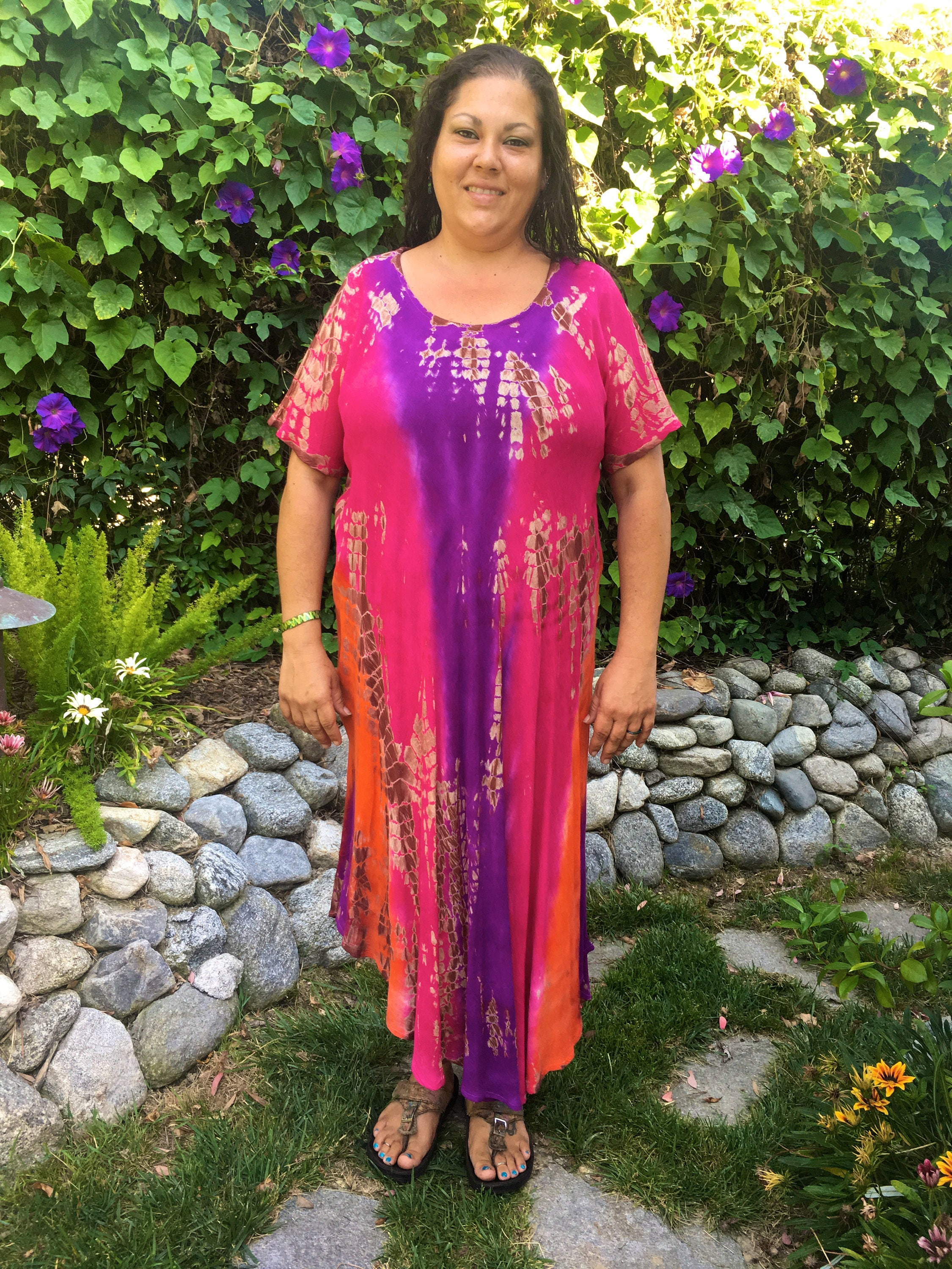 Plus Boho Dress Tie Dye Dress Plus Size Caftan Dress Cotton