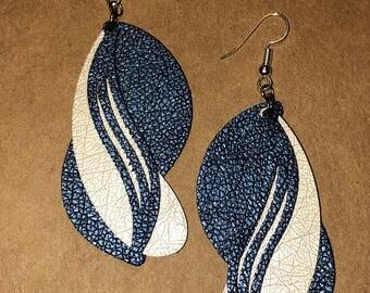 Blue leather earrings.