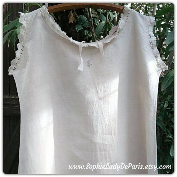 Victorian Linen Nightgown Monogram Lace Trim Antique French Off White Linen Dress Medium Large Costumes Movies Plays #sophieladydeparis