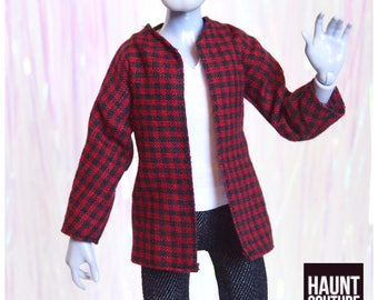 """Monster Doll Haunt Couture Boys """"Street Manster Flannel RED"""" high fashion doll clothes 