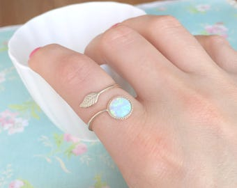 Opal Leaf Ring | Adjustable Leaf Ring | Adjustable Opal Ring | White Opal Ring | Sterling Silver Ring | October Birthstone | Gift for Her