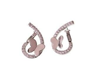Butterfly Rhodium Earrings/ Cubic Zirconia