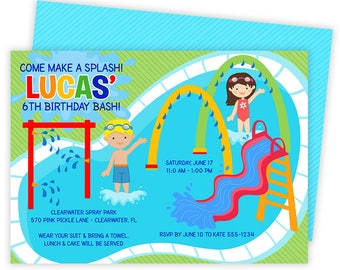 Splash Pad Invitations, Spray Park Invitations, Splash Pad, Pool Party, Splash Pad Party, Splish Splash,Splash Pad Invite,Splash Party | 570