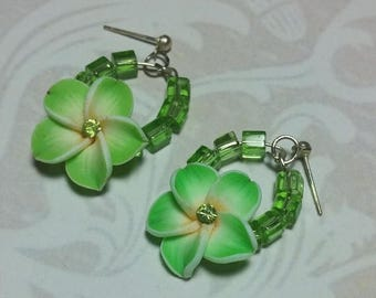 15% OFF SALE Lime Green Floral Dangle Earrings