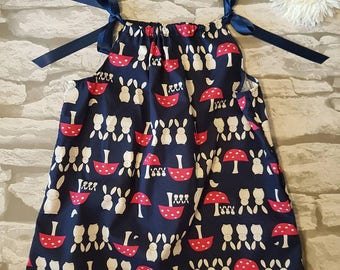 Handmade baby bunny dress aged 18 months, girl's Dress, Child's Dress, Kids Clothing, Bunny and toadstool navy blue dress, party dress